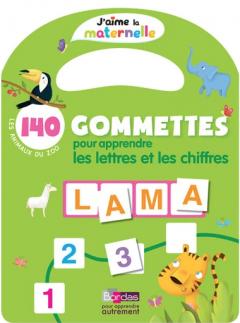 140 gommettes pour apprendre les lettres et les chiffres - Les animaux du zoo